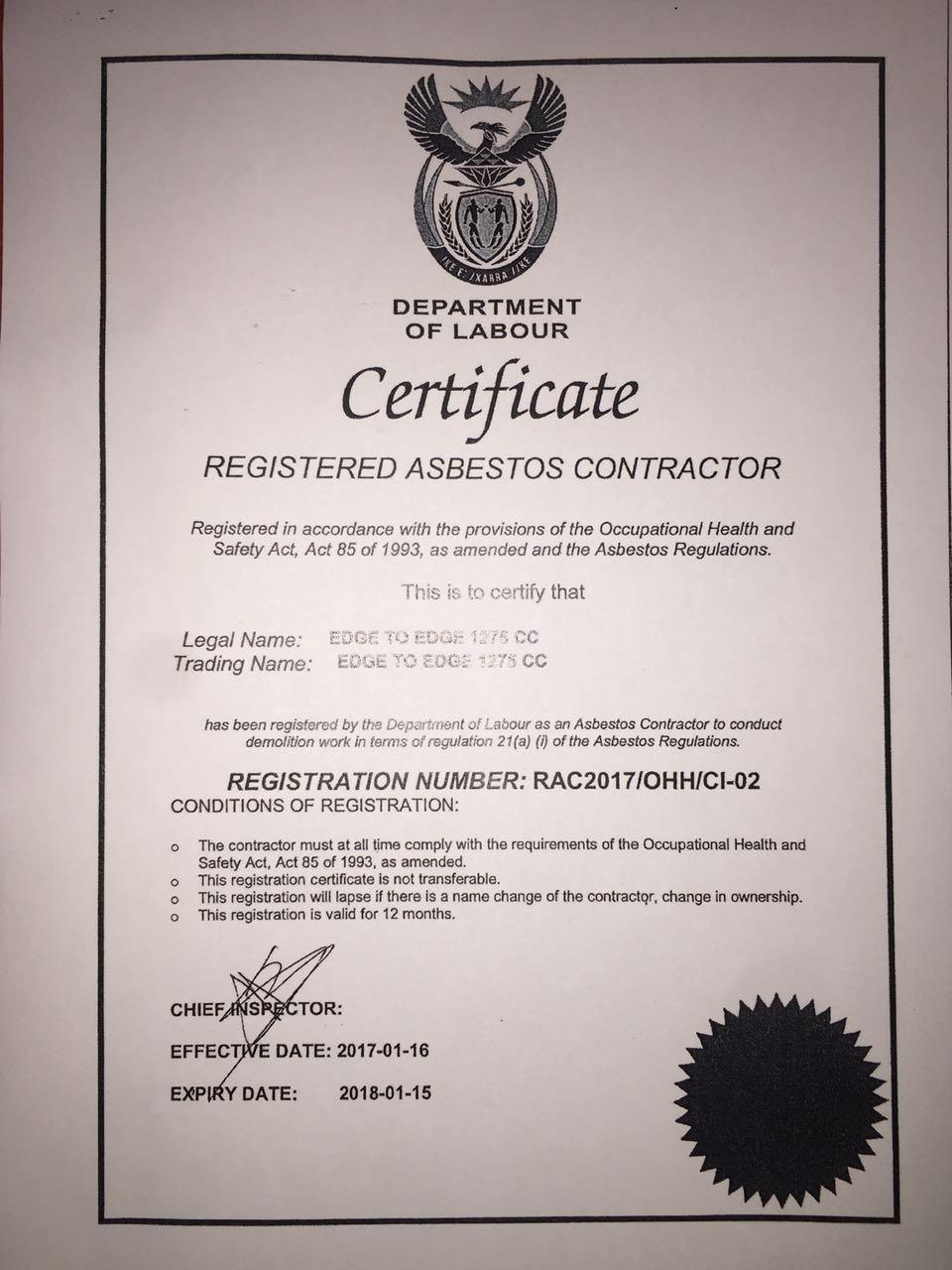 Registered Asbestos Contractor